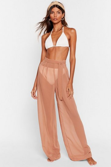 Mocha Escape Reality Wide-Leg Cover-Up Pants