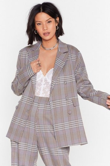 Cream Plaid to Win Double Breasted Blazer