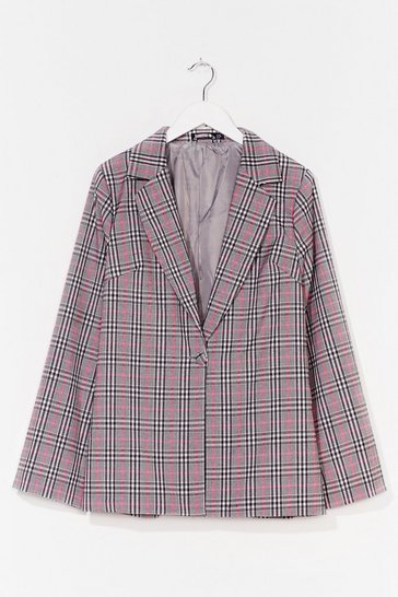 Pink One Check of a Night Oversized Blazer