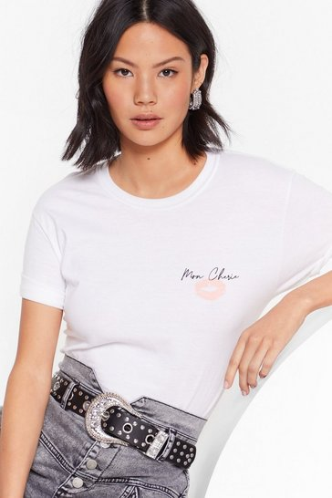 White Mon Cherie Graphic at Front T-Shirt