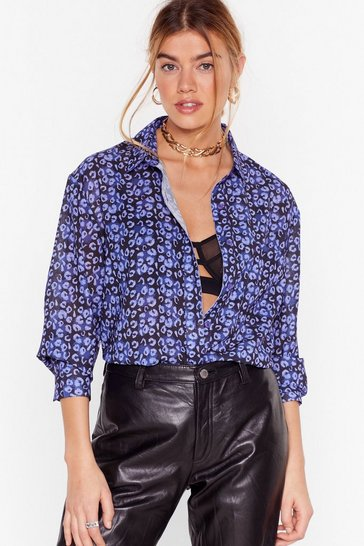 Blue The Hunt is On Oversized Animal Blouse