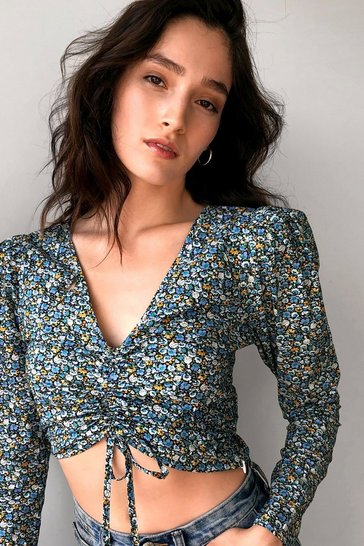 Blue So Darling Floral Ruched Blouse