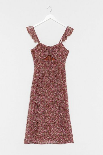 Brown Grunge Floral Cut Out Midi Dress