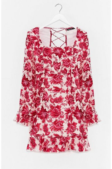 Pink Lace Talk About Love Floral Mini Dress