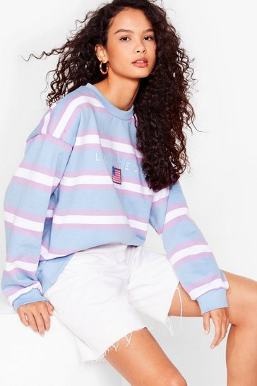 Purple Oh Hey La Stripe Relaxed Graphic Sweatshirt