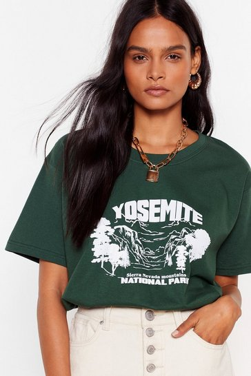 Green Yosemite National Park Graphic T-Shirt