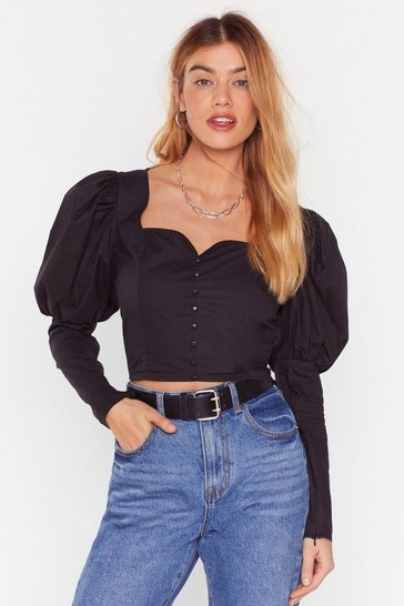 Black If It Were Button-Down to Me Cropped Blouse