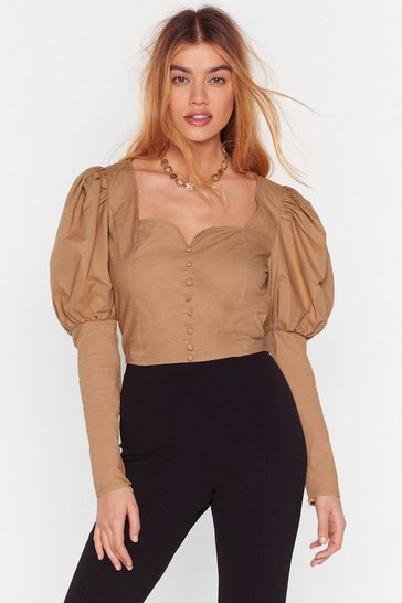 Sand If It Were Button-Down to Me Cropped Blouse