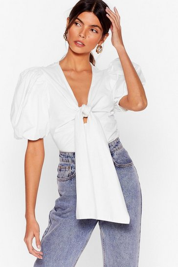 White Puff Be Love Tie Blouse