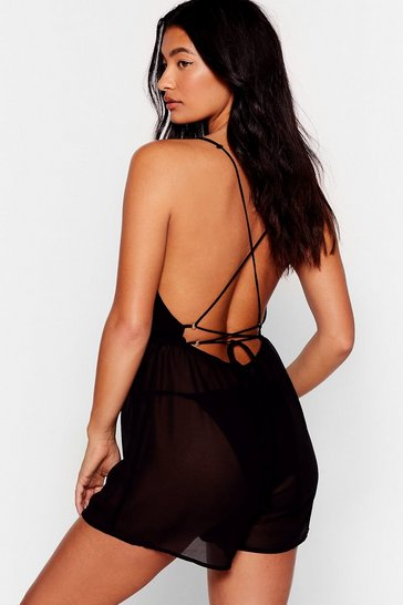 Black The Beat Chiffons Cover-Up Romper