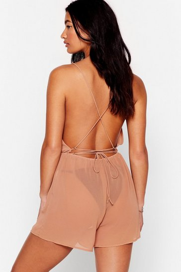 Mocha The Beat Chiffons Cover-Up Romper