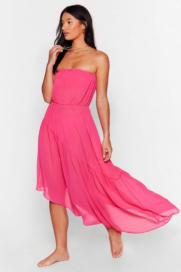 Pink Runnin' in Flow Motion Strapless Cover-Up Dress