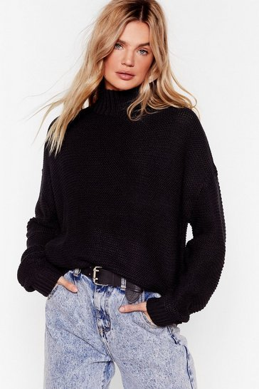 Black Longline to the Top Sweater