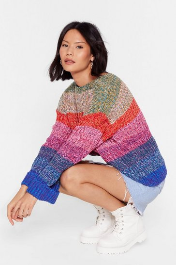 Pull oversize multicolore en maille Que color, Multi