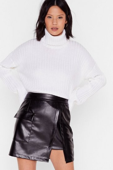 Ivory Knit By Knit Ribbed Turtleneck Sweater