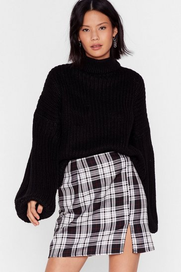 Black Balloon Sleeve Turtleneck Sweater in Chunky Knit