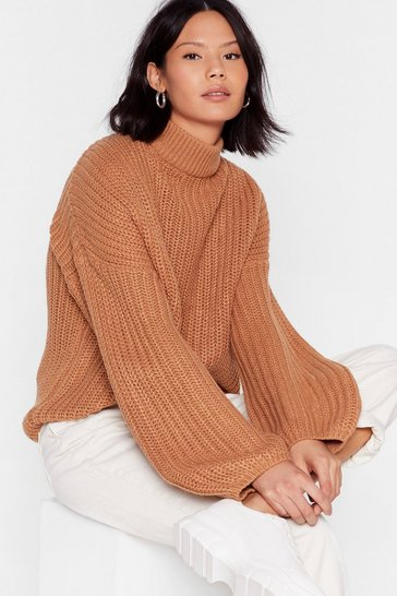 Camel Knit the Point Balloon Sleeve Turtleneck Sweater