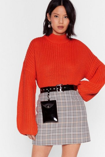 Orange Knit the Point Balloon Sleeve Turtleneck Sweater