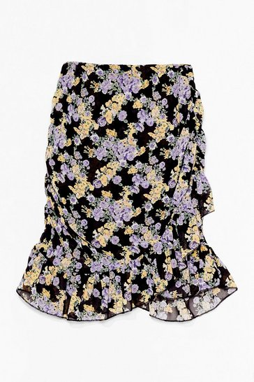 Black Look Bud On the Dancefloor Floral Mini Skirt