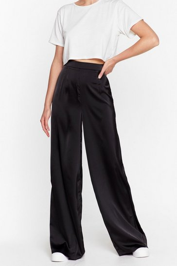 Black Sleek to Our Heart Satin Wide-Leg Pants