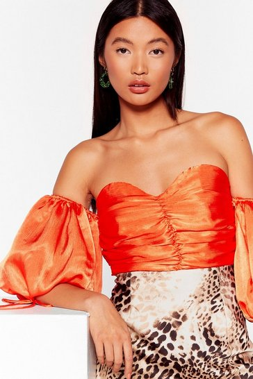 Orange All the Room We Sleeve Satin Ruched Top