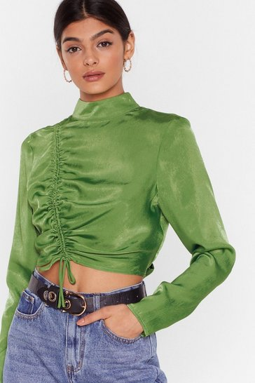 Green There's No Ruche Cropped Satin Blouse