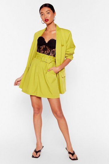 Chartreuse Never Follow Suit Longline Belted Shorts