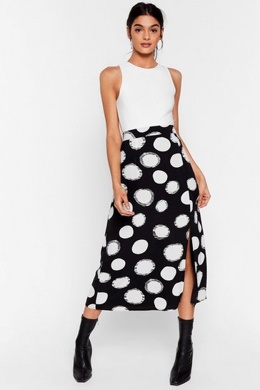 Black We've Dot the Answer High-Waisted Midi Skirt