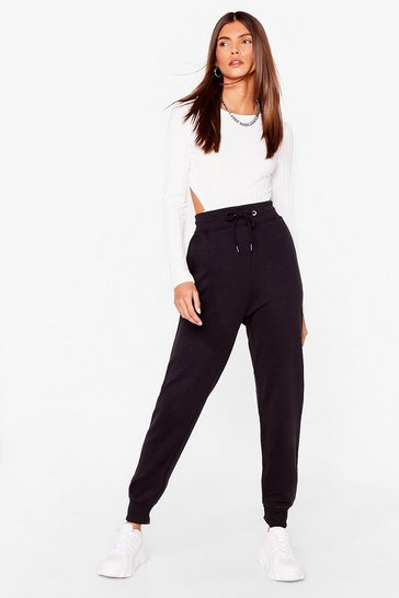 Black Cuffed Oversized High Waisted Joggers