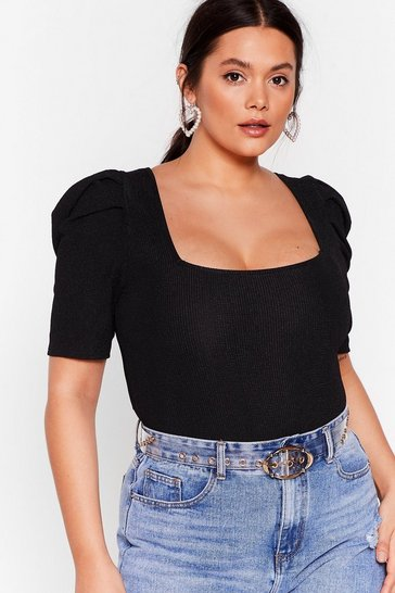 Black Get Rib It Square Neck Puff Sleeve Bodysuit