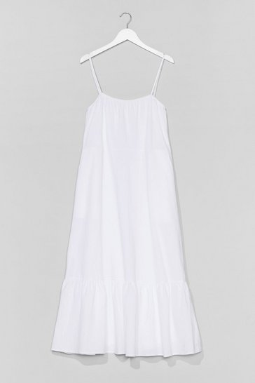 White Plus Strappy Cotton Smock Midi Dress