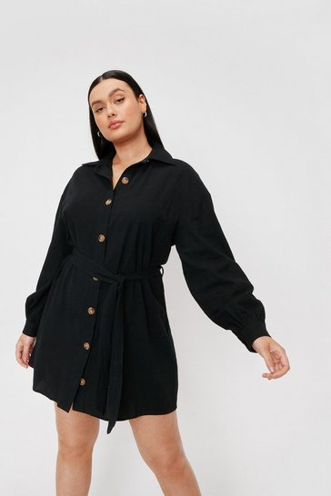 Black Plus Size Belted Mini Shirt Dress