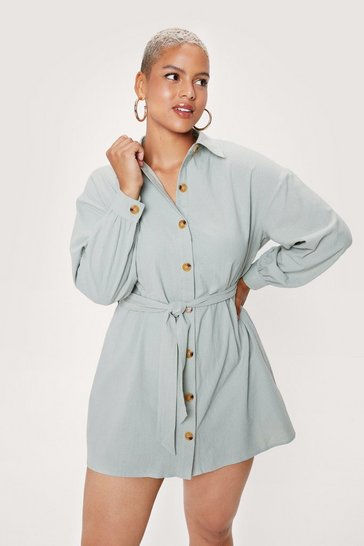 Sage Be There in a Mini Plus Belted Shirt Dress