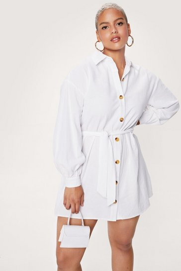 White Be There in a Mini Plus Belted Shirt Dress