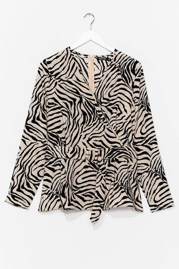 Cream I Herd You Say Plus Zebra Belted Blouse