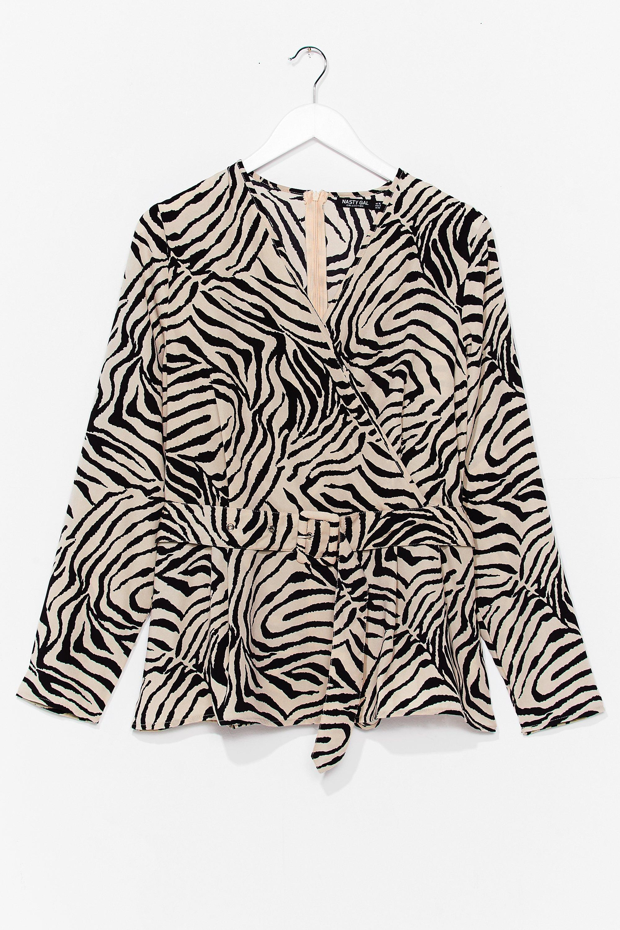I Herd You Say Plus Zebra Belted Blouse 4