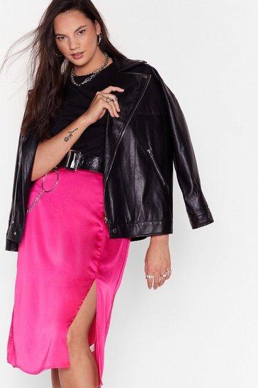 Pink Think Before You Sleek Plus Midi Skirt