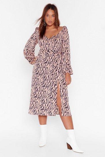 Cream Zebra Print Plus Midi Dress with V-Neckline