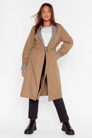 Camel Plus Size Check Trim Belted Mac