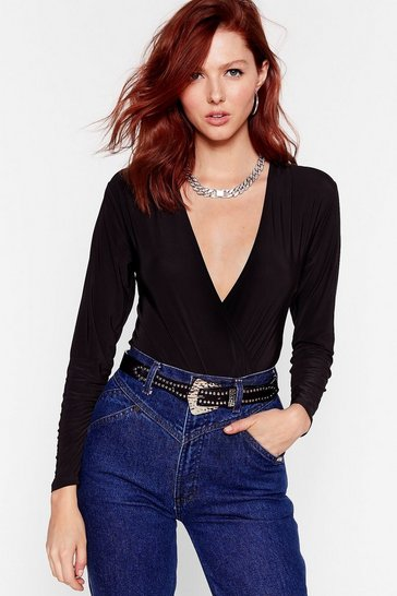 Black V Right Through You Wrap High-Leg Bodysuit