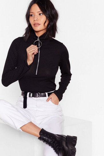 Black Doing Our Own O-Ring Ribbed High Neck Top