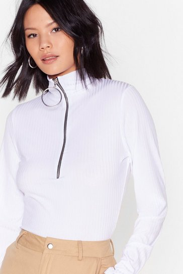 White Doing Our Own O-Ring Ribbed High Neck Top