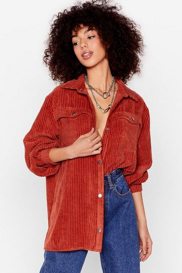 Rust Track Record-uroy Oversized Button-Down Shirt