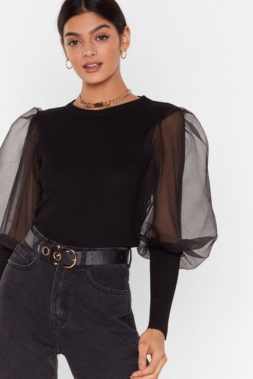 Black Sheer We Come Organza Puff Sleeve Sweater