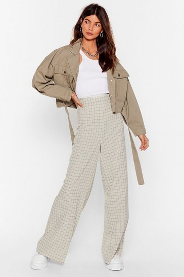 Sage How Grid It Happen Check Wide-Leg Trousers