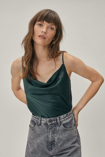 Green Don't Texture Us Cowl Crop Top