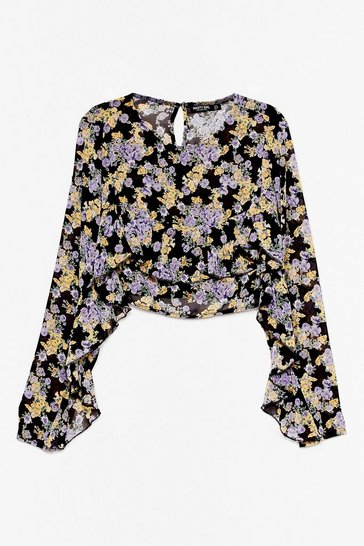 Black Look Bud On the Dancefloor Floral Crop Top