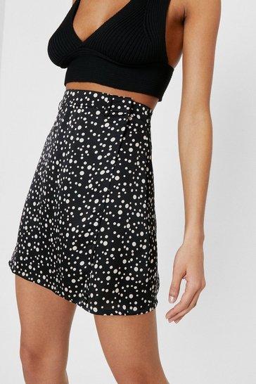 Black Damn You're Polka Dot Satin Wrap Skirt