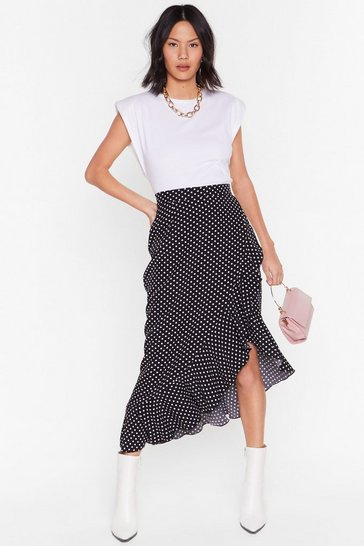 Black Some Like It Spot Ruffle Midi Skirt