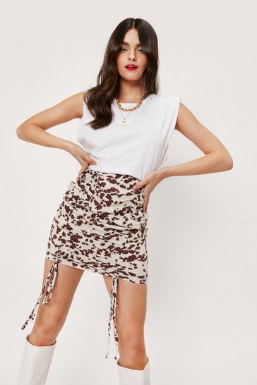 White Cow Print Ruched Mini Skirt